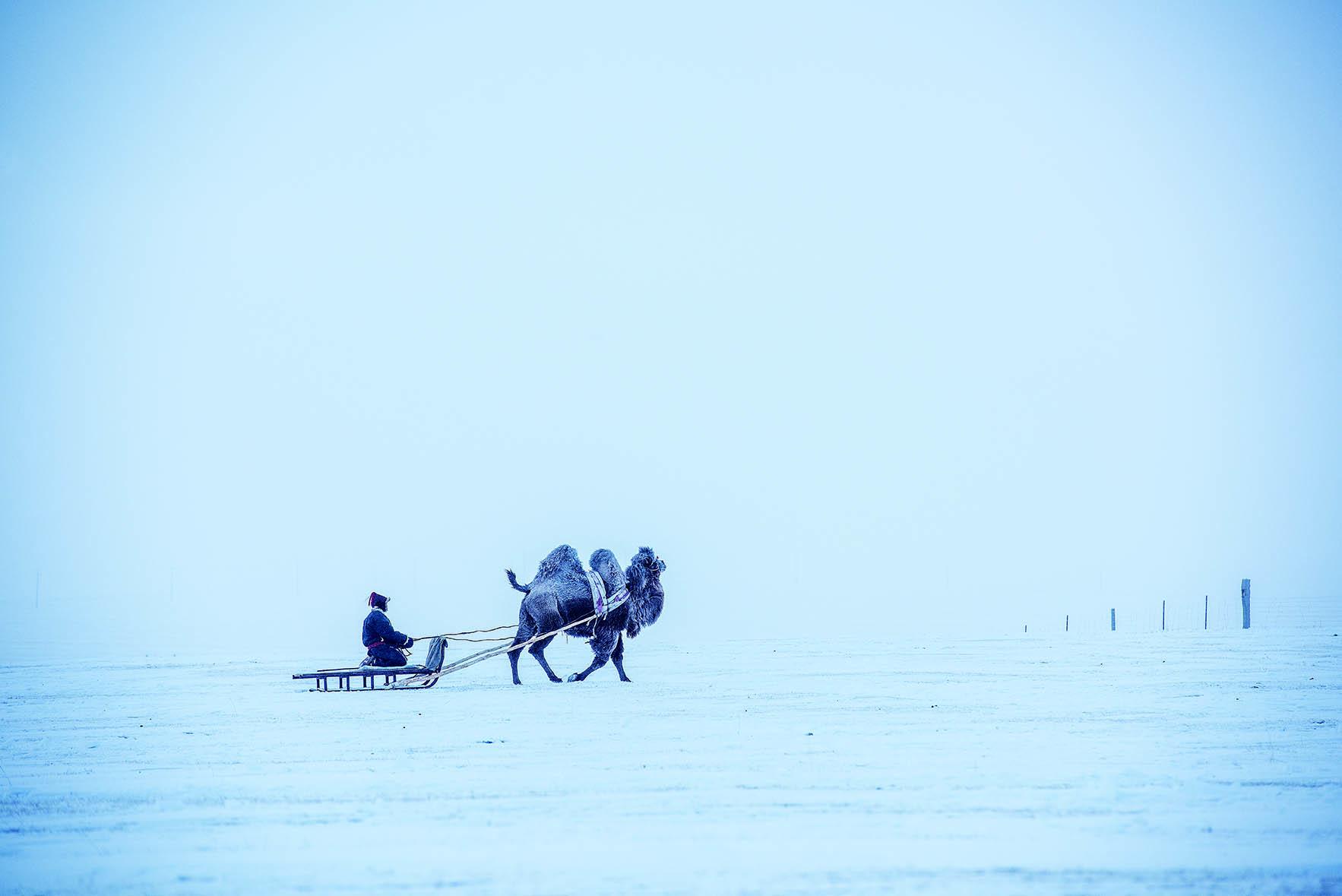 呼伦贝尔冬日草原上的牧民
